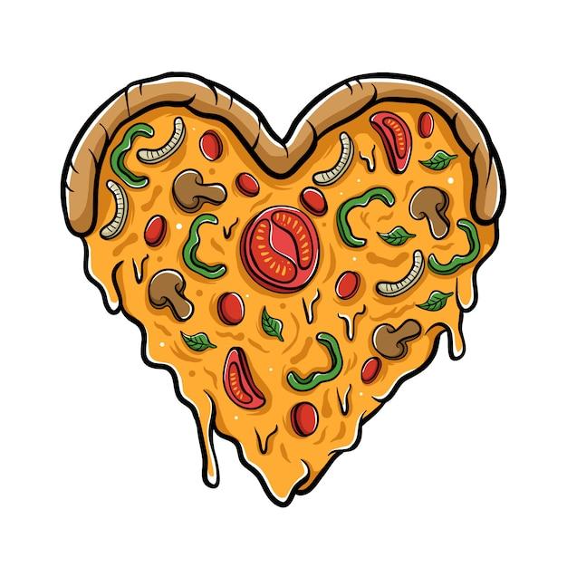 Ilustración de pizza de amor Vector Premium