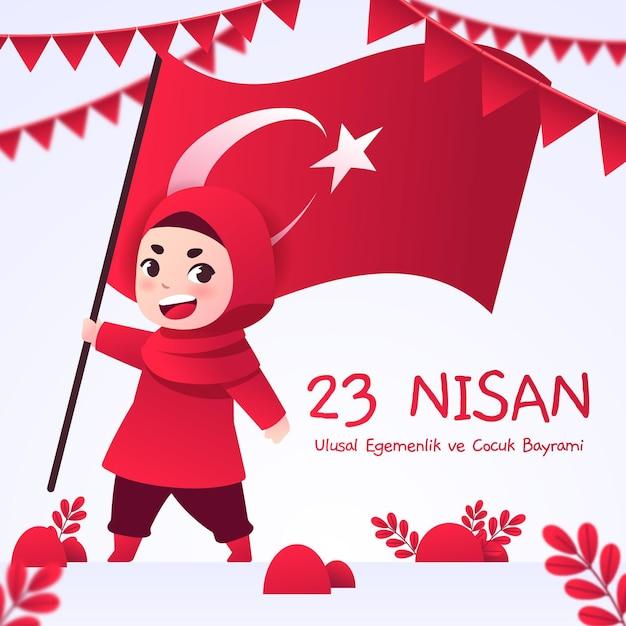 Ilustración plana 23 nisan vector gratuito
