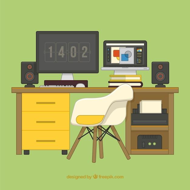 ilustraci n plana de escritorio de dise ador gr fico