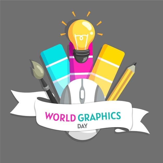Ilustración plana del día mundial de los gráficos vector gratuito