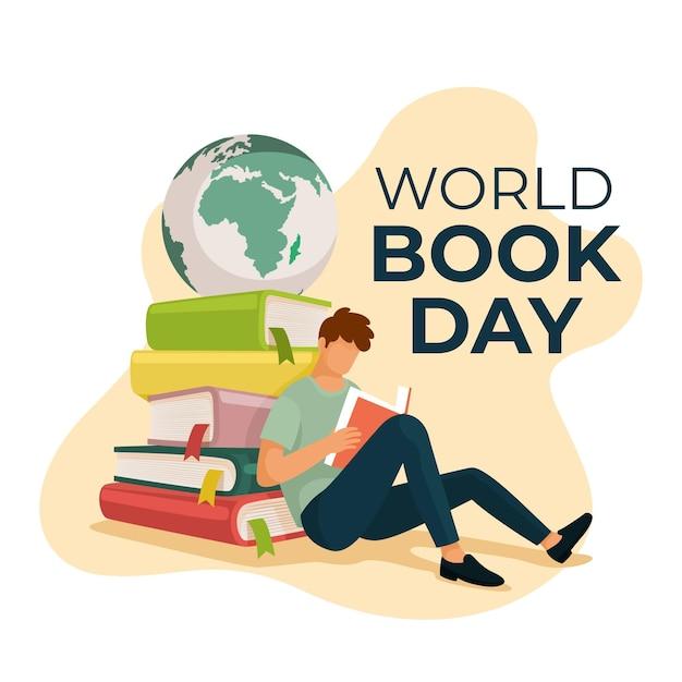 Ilustración plana del día mundial del libro vector gratuito