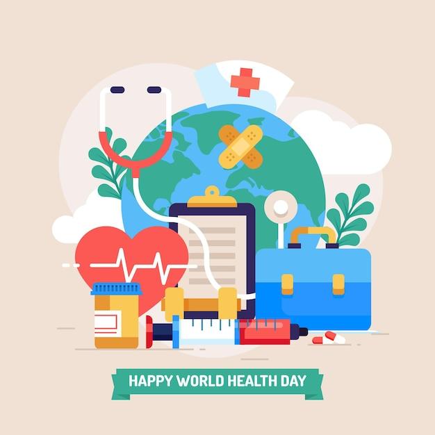 Ilustración plana del día mundial de la salud | Vector Gratis