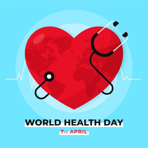 Ilustración plana del día mundial de la salud vector gratuito