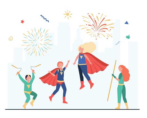Ilustración plana del equipo de niños de superhéroe feliz. vector gratuito