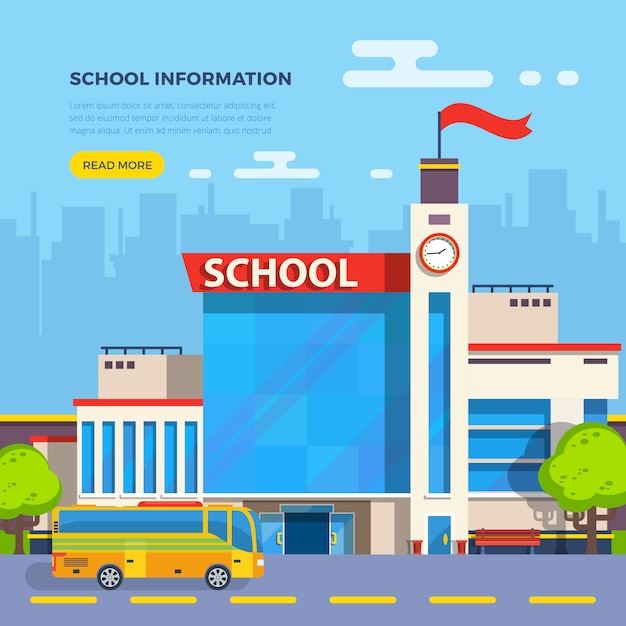 Ilustración plana de la escuela vector gratuito