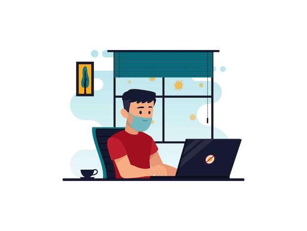 Ilustración plana del personaje que trabaja en la computadora en casa para la prevención del virus corona Vector Premium