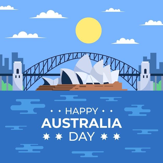 Ilustración plana del puente del día de australia vector gratuito
