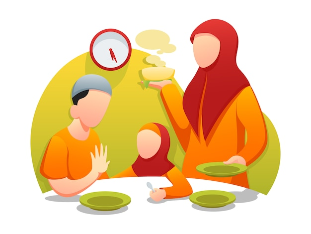 Ilustración plana de ramadan sahur iftar web Vector Premium