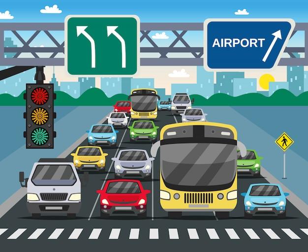 Ilustración plana de semáforo en rojo vector gratuito