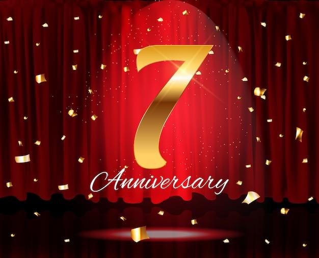 Ilustración de plantilla de aniversario de años dorados Vector Premium