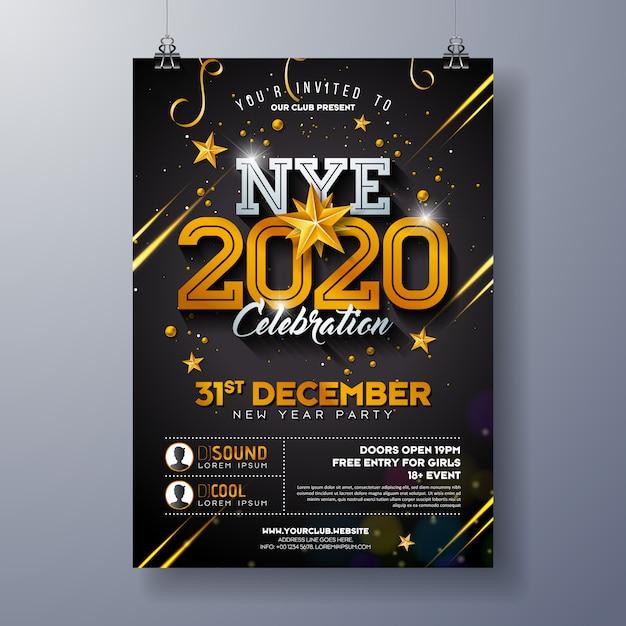 Ilustración de plantilla de cartel de celebración de fiesta de año nuevo 2020 con número de oro brillante sobre fondo negro. Vector Premium