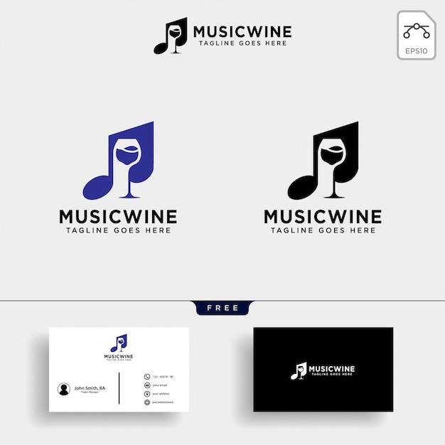 Ilustración de plantilla de logotipo de vino de música Vector Premium