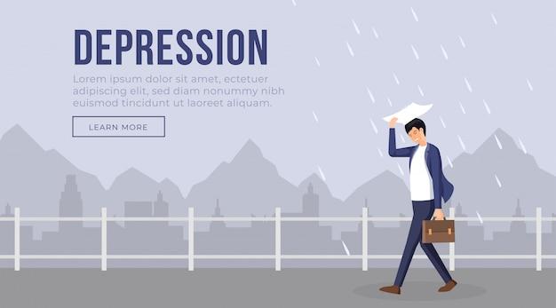 Ilustración de plantilla de página de aterrizaje de depresión. carácter de empresario de mal humor caminando mientras llueve. paisaje sombrío de la ciudad, hombre estresado, diseño plano de página web de problema de ansiedad Vector Premium