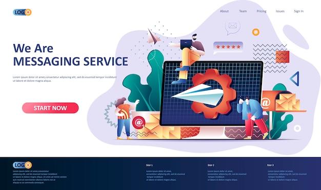 Ilustración de plantilla de página de destino de servicio de mensajería Vector Premium