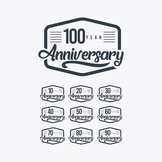 Ilustración de plantilla retro de celebración de aniversario de 100 años Vector Premium