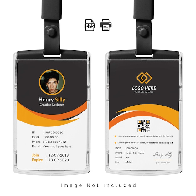 Ilustración de plantilla de tarjeta de identificación de oficina vector gratuito