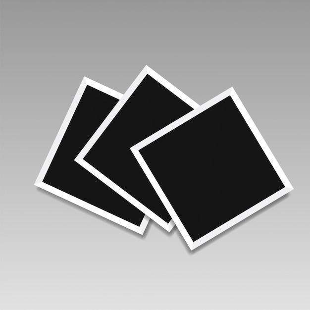 Ilustración de plantillas de marcos de cuadros en fondo transparente para fotos. Vector Premium