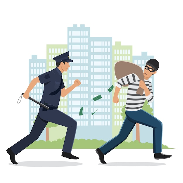 Ilustración de un policía persiguiendo a un ladrón con bolsa robada Vector Premium