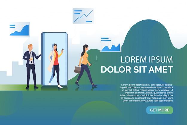 Ilustración de presentación de gente y teléfono móvil vector gratuito