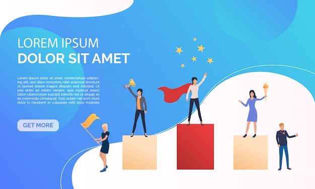 Ilustración de presentación de negocios azul vector gratuito