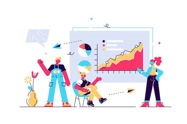 Ilustración de presentación publicación de infografías y discurso. Vector Premium