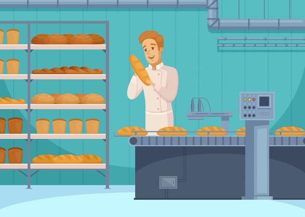 Ilustración de producción de pan vector gratuito