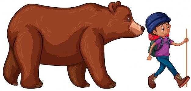 Ilustración de prohibición ir de excursión con big bear detrás de él vector gratuito