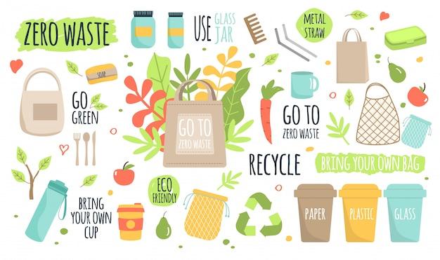 Ilustración de protección de ecología de reciclaje de residuos cero Vector Premium