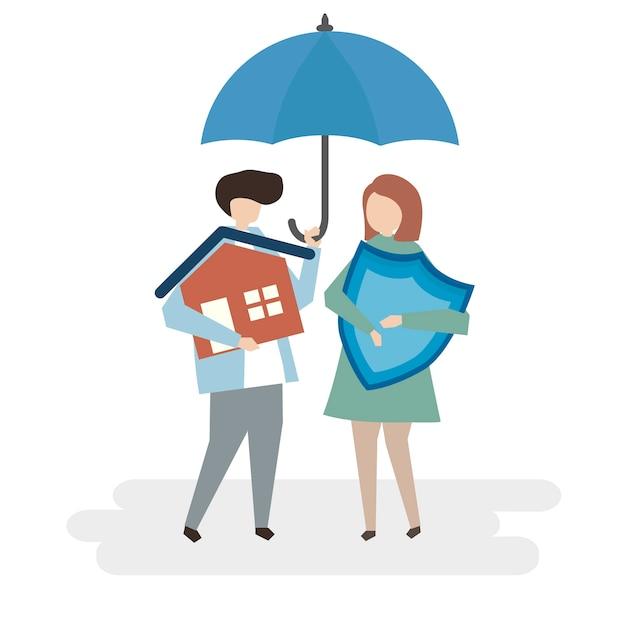 Ilustración de la protección del seguro del hogar. vector gratuito