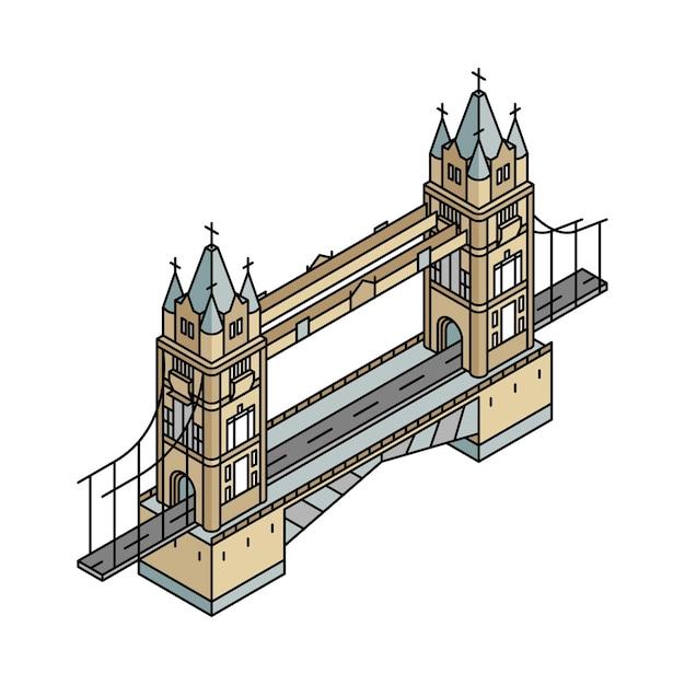 Ilustración del puente de londres en el reino unido vector gratuito