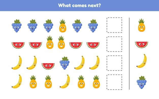 Ilustración. que viene despues. continúe la secuencia. frutas hoja de trabajo para niños en edad preescolar, preescolar y escolar. Vector Premium