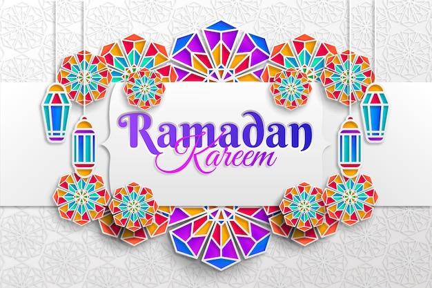 Ilustración de ramadan kareem en estilo papel vector gratuito