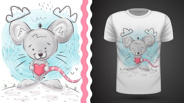 Ilustración de rata loca para camiseta estampada Vector Premium