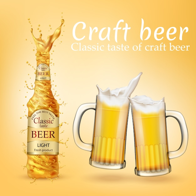 Ilustración realista con cerveza dorada salpicaduras, remolinos y gafas transparentes vector gratuito