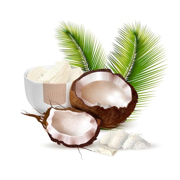 Ilustración realista de coco vector gratuito