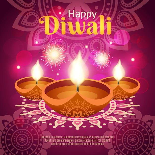 Ilustración realista de diwali vector gratuito