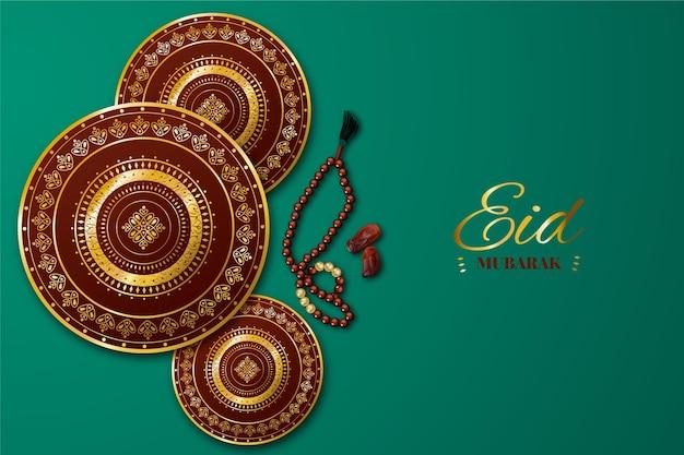 Ilustración realista de eid al-fitr vector gratuito
