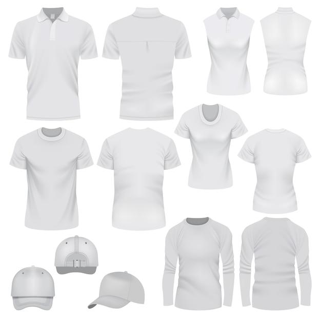 Ilustración realista de maquetas de gorra de camiseta para web. Vector Premium