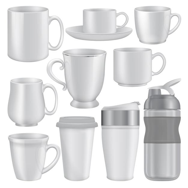 Ilustración realista de maquetas taza taza para web Vector Premium