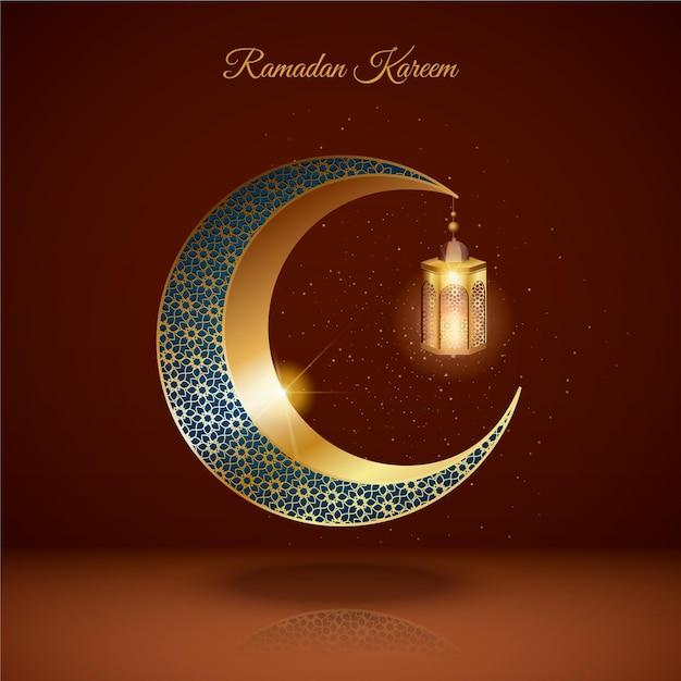 Ilustración realista de ramadan kareem tridimensional Vector Premium