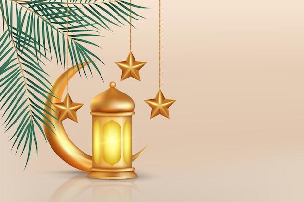Ilustración realista tridimensional de ramadan kareem vector gratuito