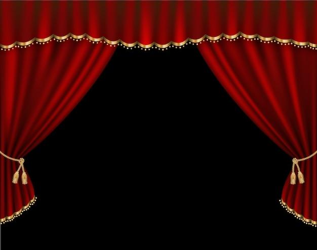Ilustración realista de vector de cortina Vector Premium