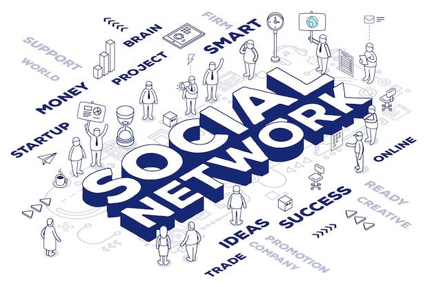 Ilustración de la red social tridimensional de la palabra con personas y etiquetas sobre fondo blanco con esquema. Vector Premium