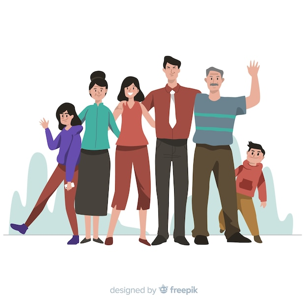 Ilustración retrato de familia dibujado a mano vector gratuito