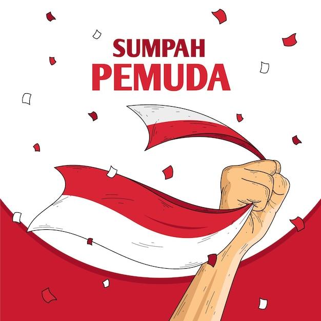 Ilustración retro de sumpah pemuda vector gratuito
