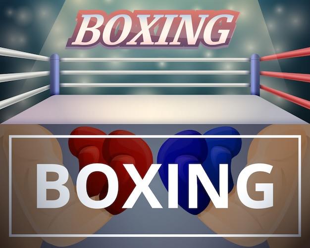 Ilustración del ring de boxeo en estilo de dibujos animados Vector Premium