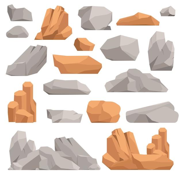 Ilustración de rocas y piedras Vector Premium