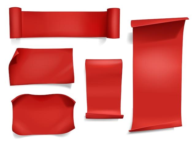 Ilustración roja de las cintas y de las banderas. papel 3d curvo realista, textil satinado o rollo de seda. vector gratuito