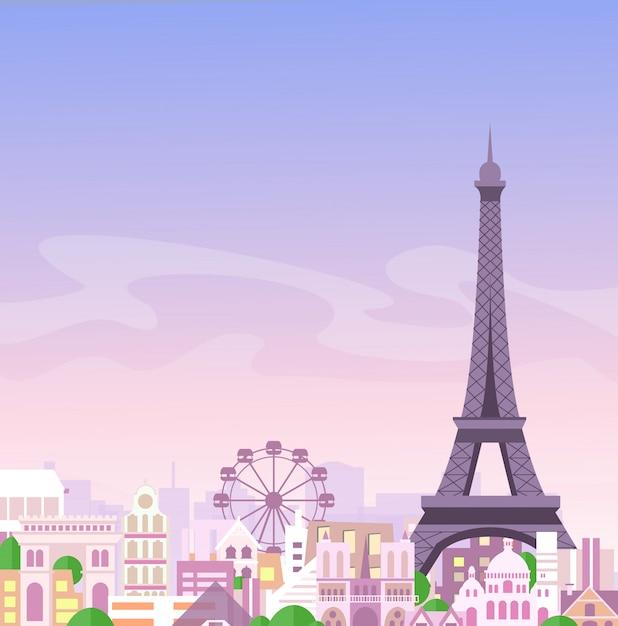 Ilustración de la romántica vista de parís, francia horizonte de la ciudad de fondo en colores pastel, hermosa ciudad en estilo plano. Vector Premium