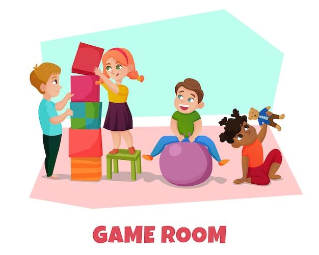 Ilustración de la sala de juegos vector gratuito